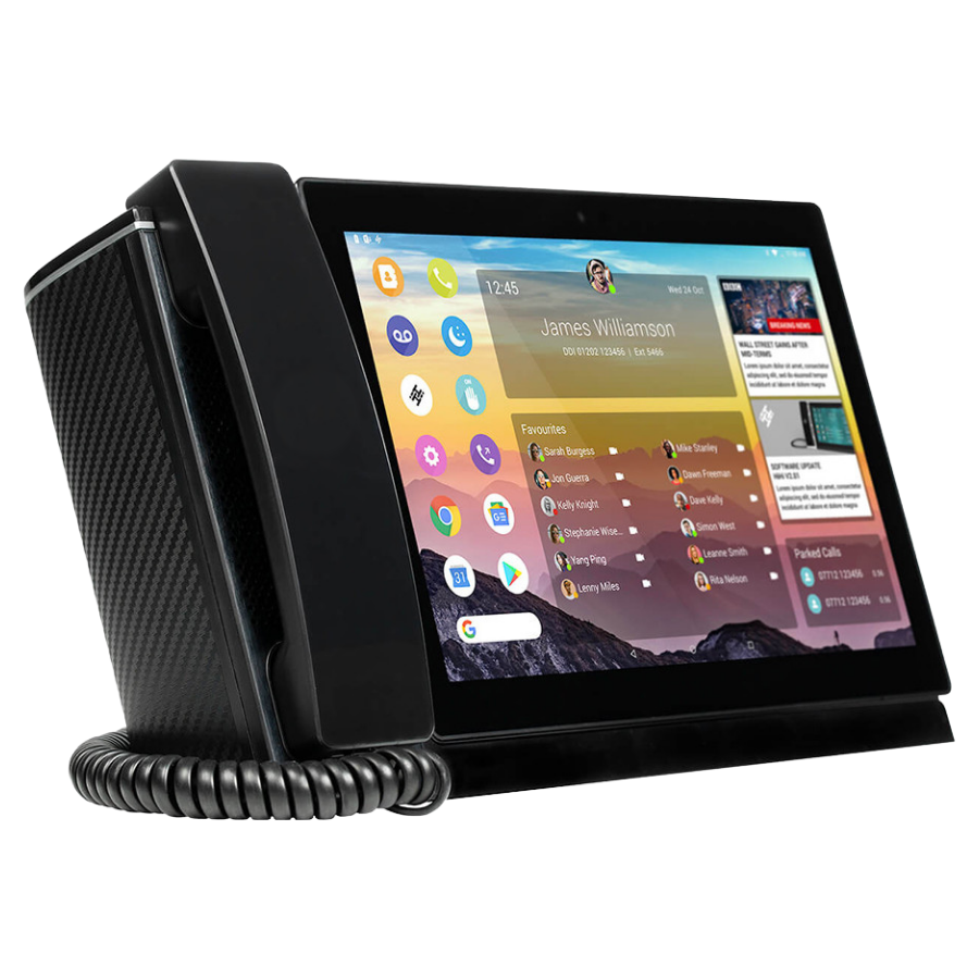 Business phone with a screen displaying apps and calls on its screen, representing the client product in this online focus group recruitment case study