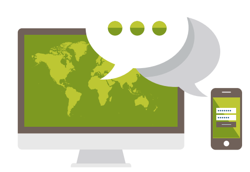 """Concept graphic of a world map on a screen, a phone app login screen and a """"..."""" speech bubble in greens, white and greys, to represent online insights communities software"""