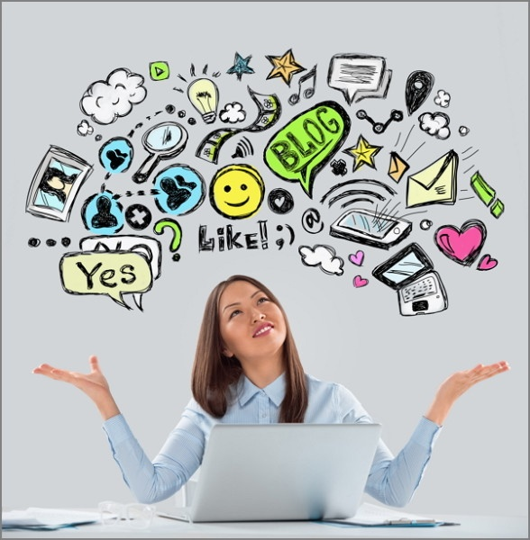 Person on laptop beneath cartoon market research online community concepts