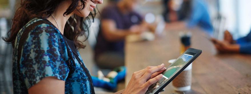 woman exploring online community engagement ideas on a tablet